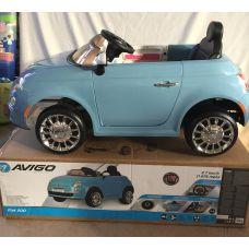 Электромашина Fiat 500 голубая