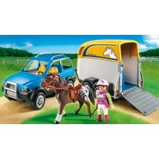 Конструктор Playmobil Country 5223 Машина с фургоном для лошади некомплект